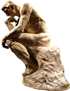 彫刻家ロダンの「考える人」のポーズ